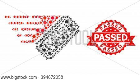 Vector Mosaic Ticket Of Virus, And Passed Corroded Ribbon Seal. Virus Particles Inside Ticket Mosaic