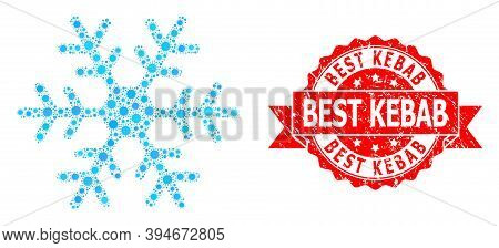Vector Mosaic Snowflake Of Coronavirus, And Best Kebab Unclean Ribbon Stamp Seal. Virus Elements Ins