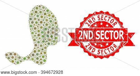 Vector Collage Spot Of Flu Virus, And 2nd Sector Dirty Ribbon Stamp Seal. Virus Elements Inside Spot