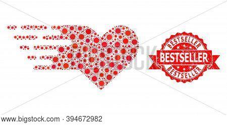 Vector Collage Valentine Heart Of Covid-2019 Virus, And Bestseller Grunge Ribbon Stamp. Virus Elemen