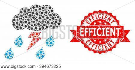 Vector Collage Thunderstorm Of Flu Virus, And Efficient Corroded Ribbon Stamp Seal. Virus Cells Insi