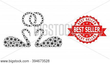 Vector Mosaic Wedding Swans Of Covid-2019 Virus, And Best Seller Rubber Ribbon Stamp Seal. Virus Ite