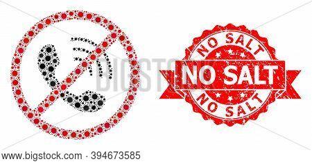 Vector Mosaic No Phone Calls Of Covid-2019 Virus, And No Salt Textured Ribbon Seal. Virus Elements I