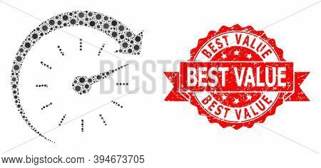 Vector Collage Time Forward Of Flu Virus, And Best Value Grunge Ribbon Stamp Seal. Virus Items Insid