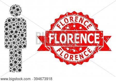 Vector Collage Person Of Virus, And Florence Unclean Ribbon Seal Print. Virus Cells Inside Person Co