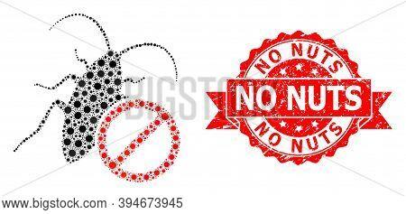 Vector Mosaic No Cockroach Of Covid-2019 Virus, And No Nuts Corroded Ribbon Seal Print. Virus Items
