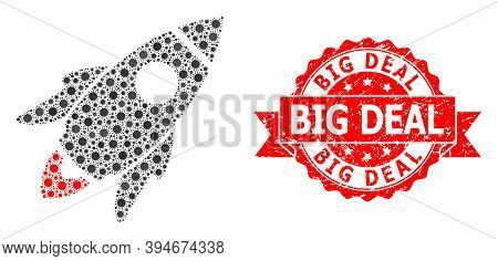 Vector Collage Space Rocket Of Flu Virus, And Big Deal Grunge Ribbon Stamp Seal. Virus Elements Insi