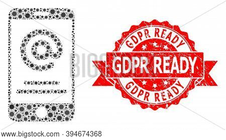 Vector Mosaic Smartphone Address Info Of Covid-2019 Virus, And Gdpr Ready Corroded Ribbon Stamp. Vir