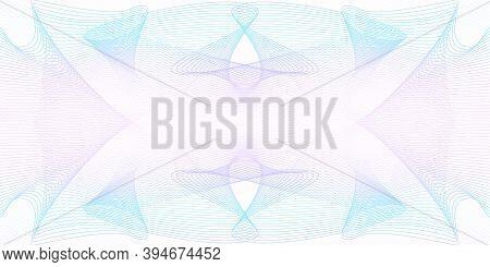 Light Pink, Violet, Cyan Guilloche Pattern. Horizontal Symmetric Watermark. Line Art Design. Colored