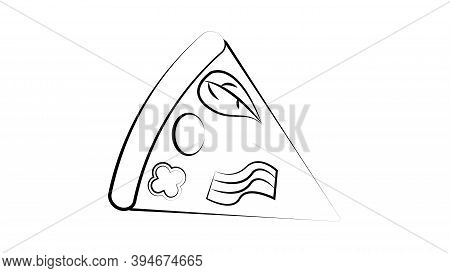 Slice Of Italian Pepperoni Pizza On White Background, Top View.