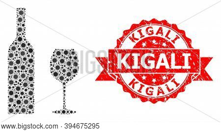 Vector Mosaic Wine Glassware Of Virus, And Kigali Corroded Ribbon Seal Print. Virus Particles Inside