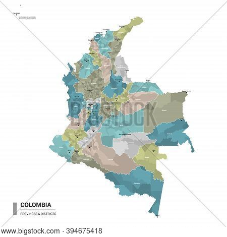 Colombia Higt Detailed Map With Subdivisions. Administrative Map Of Colombia With Districts And Citi