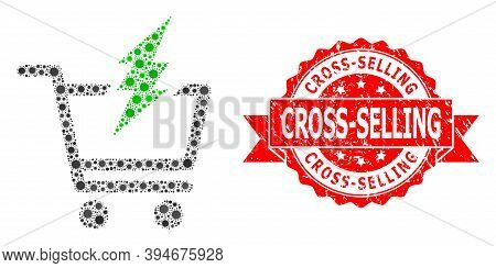 Vector Collage Proceed Purchase Of Corona Virus, And Cross-selling Dirty Ribbon Stamp Seal. Virus It