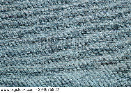 Fabric For Furniture Upholstery Closeup Texture. Blue Grey Fabric, Textile Backgrounds. Coarse Cotto