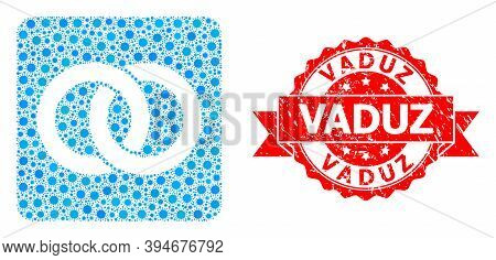 Vector Collage Wedding Rings Of Virus, And Vaduz Scratched Ribbon Stamp. Virus Cells Inside Wedding