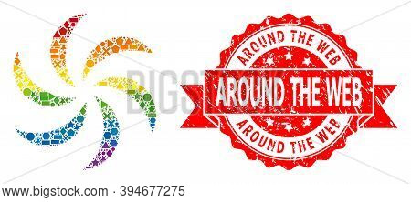 Spectrum Gradient Colored Geometric Collage Turbine Rotation, And Around The Web Rubber Stamp. Red S