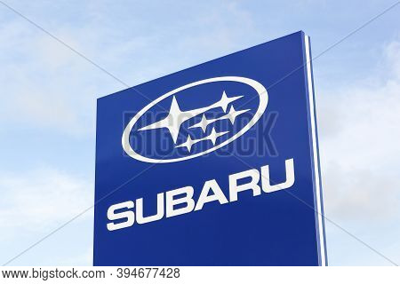Tilst, Denmark - October 7, 2018: Subaru Logo On A Panel. Subaru Is The Automobile Manufacturing Div
