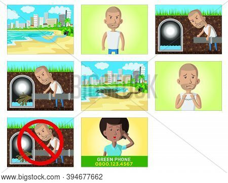 Comic Strip Of A Criminal Making An Illicit Sewer, In A Storyboard About The City Sewage And Drainag