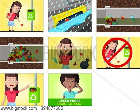 Comic Strip About The Consequences Of Throwing Garbage On The Street, In A Storyboard About The City