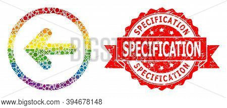 Rainbow Gradient Vibrant Geometric Collage Left Pointer, And Specification Unclean Seal Print. Red S