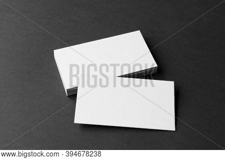 Business Cards Blank. Mockup On Black Background.  Copy Space For Text.