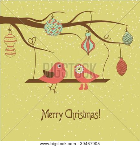 Christmas card with two cute birds on the tree branch