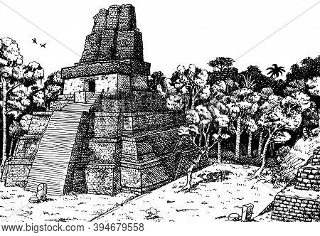 Steep Temple-pyramid Amid The Forest At The Old City Of Tikal. A Large Archaeological Site Of The Ma