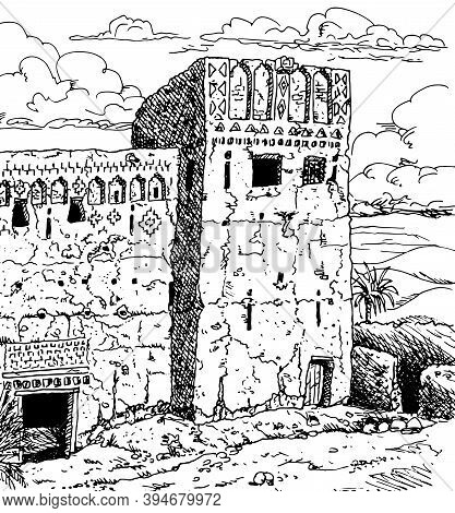 Frontage And Tower Of An Old Kasbah In Ruins, A Fortress Palace Mud-built Near The Ouarzazate Villag