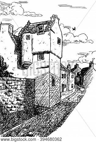 A Small Two-story House In Medieval Burg-style In An Alley At Culross. A Tiny And Well-preserved Sea