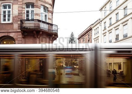 Strasbourg, France - Nov 3, 2020: View Through In Motion Tramway On The Almost Empty Street During N