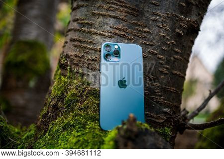 Paris, France - Nov 11, 2020: Hero Object Of New Iphone 12 Pro Max 5g Smartphone Model By Apple Comp