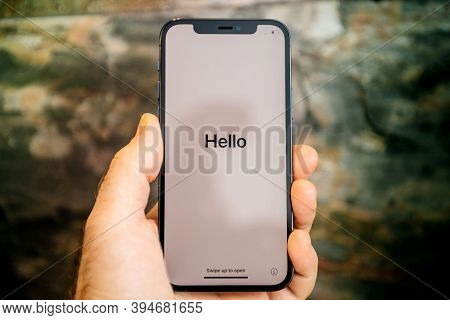 Paris, France - Nov 11, 2020: Hello Word Seen On Display Of New Iphone 12 Pro Max 5g Smartphone Mode