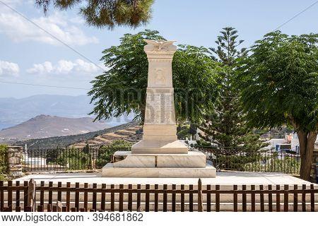 Paros, Greece - September 27, 2020: Marble Monument In The Memorial Park In Lefkes Village On Paros