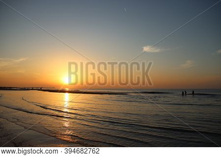 Sunset At The Scheveningen Beach At The North Sea Close To The Hague, The Netherlands