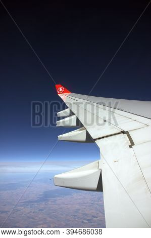 Trabzon, Turkey - July 08, 2016: Turkish Airlines Jet Taking Off From Trabzon Airport In A Windy Wea