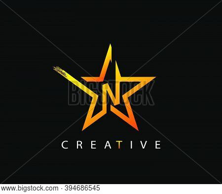 Star N Letter Digital Network, Technology And Digital Abstract Line N Network Space Logo.