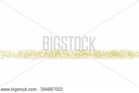 Golden Horizontal Strip, Crumbs Sprinkled Texture. Backdrop Gold Dust On A White Background. Sand Pa