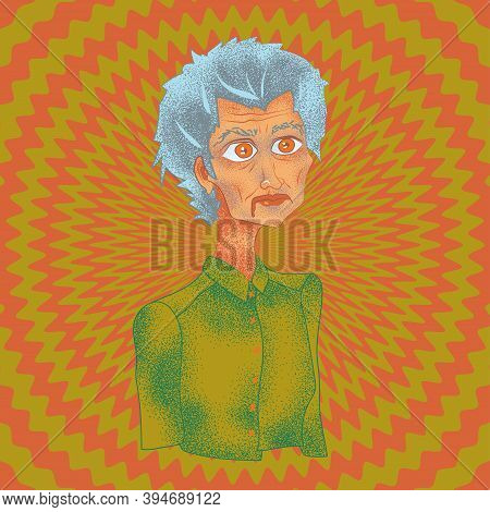 The Strange Woman With Big Eyes On A Colorful Background (green And Red).