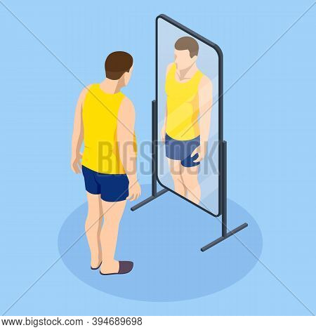 Problem Of Excess Weight And Health. Isometric Fat Man Looks In The Mirror And Sees Herself As Slim.