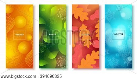 Season Abstract Vector Poster Set. Seasonal Colorful Background Like Summer, Spring, Autumn And Wint