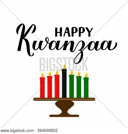 Happy Kwanzaa Calligraphy Hand Lettering Isolated On White. African American Holiday. Vector Templat