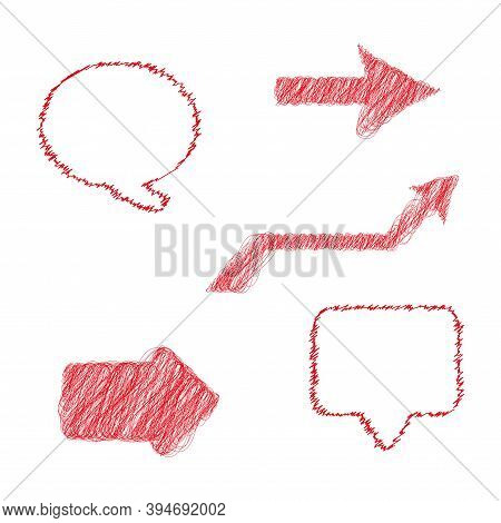 Hand Drawn Vector Scribbles. Chat Bubble, Arrows And Message Box. Flat Style Vector Illustration Iso