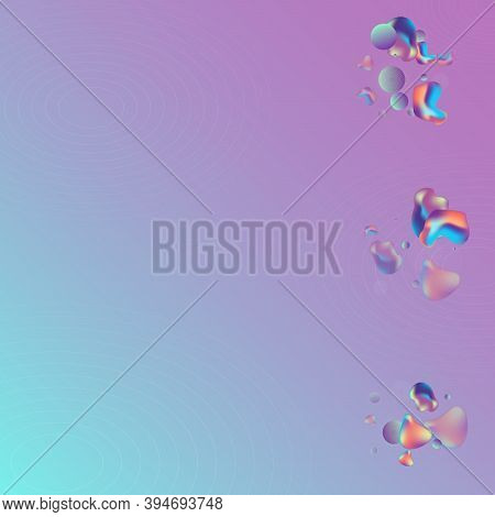 Color Bubble Fashion Vector Blue Background. Cosmic Fluid Poster. Hologram Hipster Holography Flyer.
