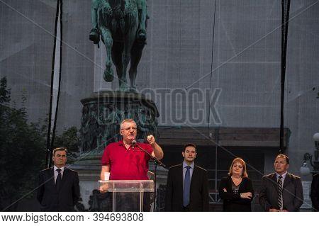 Belgrade, Serbia - June 28, 2015: President Of The Serbian Radical Party Vojislav Seselj Gives A Spe