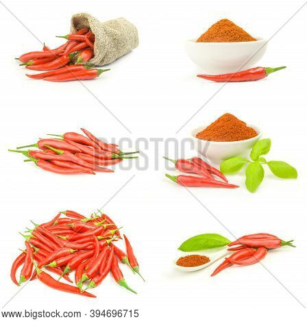 Collection Of Chili Pepper Isolated On A White Background Cutout