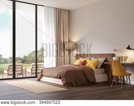 Red Brown Tone Bedroom With Nature View 3d Render,the Rooms Have Wooden Floors ,decorate With Colorf