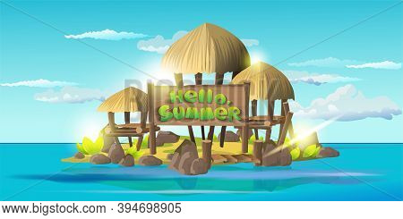 Helli Summer Card. Small Tropical Island With Simple Shacks, Wooden Houses With Thatched Roofs. Isla