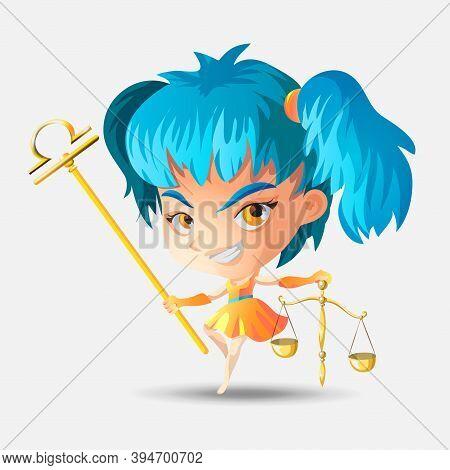 Zodiac Signs - Libra. Colored Vector Illustration. Libra Funny Cute Cartoon Character. Libra Girl. I