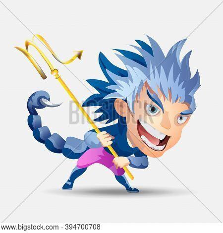 Zodiac Signs - Scorpio. Colored Vector Illustration. Scorpio Funny Cute Cartoon Character. Isolated