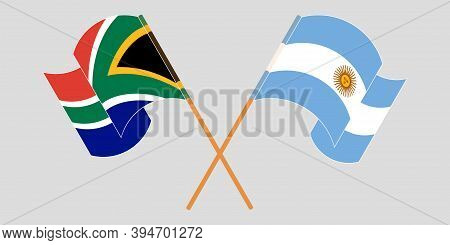 Crossed And Waving Flags Of Rsa And Argentina. Vector Illustration
